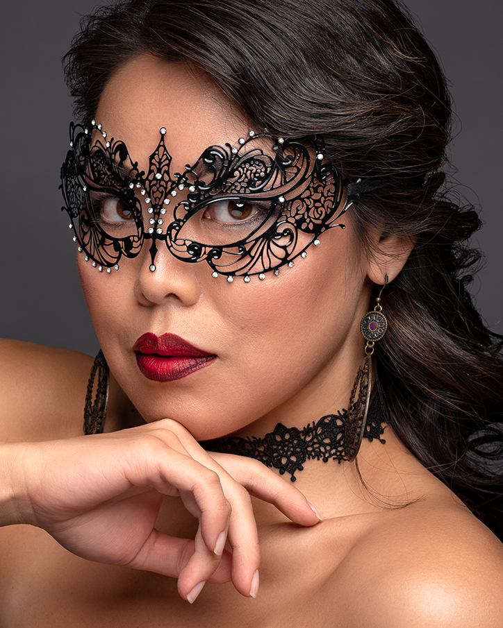 Glamor shot of Angie with the mask